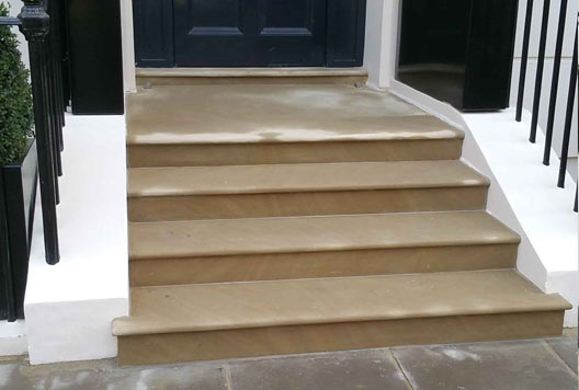 New stone steps for London house fitted by our stonemasons