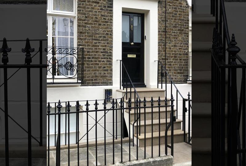 New stone steps, plinth, path terraced home London