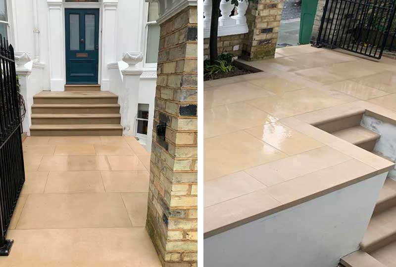 Front garden paving and steps