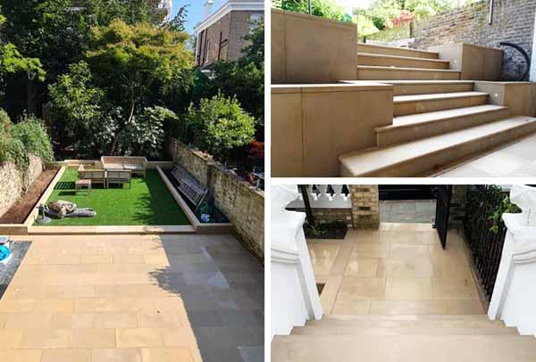 Stone paving and steps Kensington London