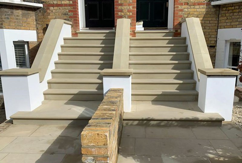 The new steps, before the handrails were fitted